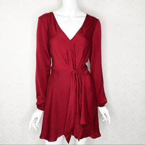 Express Silky Long Sleeved Tie Front Dress